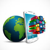 White touch screen smartphone with application icons and green Earth globe  on white background Royalty Free Stock Image