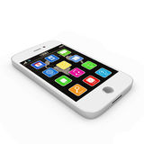 White Touchscreen Smartphone. On white background Royalty Free Stock Images