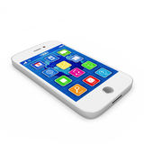 White Touchscreen Smartphone. On white background Royalty Free Stock Photos