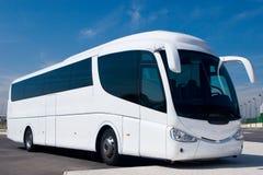White Tour Bus royalty free stock image