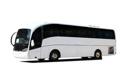 White Tour Bus Stock Image