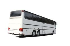 White Tour Bus Isolated over White. Background Stock Images
