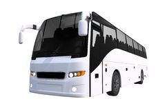 White Tour Bus Isolated Royalty Free Stock Photo