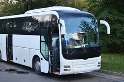 White tourist bus for excursions. The bus is parked in a parking lot near the park.  royalty free stock photo