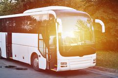White tourist bus for excursions. The bus is parked in a parking lot near the park.  royalty free stock photos