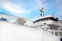 White tourist ship close up on blue sky Royalty Free Stock Photography