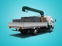 White tow truck with blue crane full of building materials rear view 3d render on blue background with shadow. White tow truck with blue crane full of building stock illustration