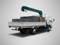 White tow truck with blue crane full of building materials rear view 3d render on gray background with shadow. White tow truck with blue crane full of building vector illustration