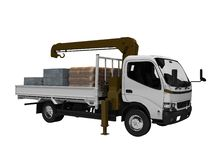 White tow truck with brown crane full of building materials 3d render on white background no shadow. White tow truck with brown crane full of building materials stock illustration