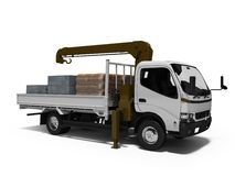 White tow truck with brown crane full of building materials 3d render on white background with shadow. White tow truck with brown crane full of building royalty free illustration