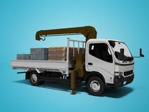 White tow truck with brown crane full of building materials 3d render on blue background with shadow. White tow truck with brown crane full of building materials royalty free illustration