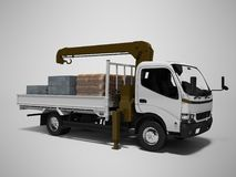 White tow truck with brown crane full of building materials 3d render on gray background with shadow. White tow truck with brown crane full of building materials royalty free illustration