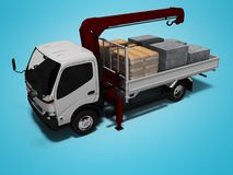 White tow truck with red crane full of building materials 3d render on blue background with shadow. White tow truck with red crane full of building materials 3d stock illustration