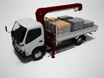 White tow truck with red crane full of building materials 3d render on gray background with shadow. White tow truck with red crane full of building materials 3d royalty free illustration