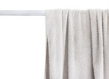 White towel. Towel on a hanger isolated over white Royalty Free Stock Photography