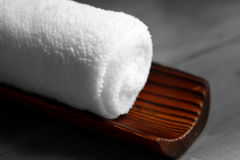 White towel on bamboo Royalty Free Stock Photography