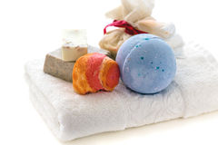 White towel and bath set. Stock Images