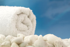 White towel on the beach Stock Image