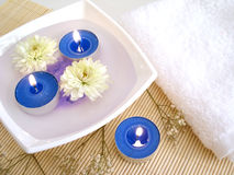 White Towel, Blue Candles Royalty Free Stock Photos