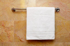 White towel. Clean towel on the rack Royalty Free Stock Photos
