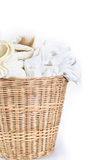 White towel and cloth wicker baskets on white background Stock Photo