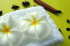 White towel with flowers of plumeria with stars of anise and cinnamon sticks on the yellow background. Royalty Free Stock Photos