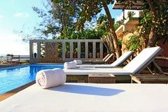 White Towel On Beach Chair Stock Photos