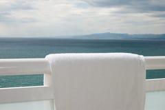White Towel On Handrail Stock Photos