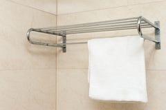 White towel on shelf Stock Photos