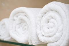 White towel in shower room. Towel stock photography
