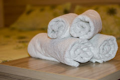 White towel on table. In Hotel Room,Room service Stock Photo