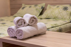White towel on table in Hotel Room. Room service Royalty Free Stock Photos