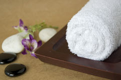 White towel on tray Royalty Free Stock Photo