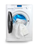 White towel and washing machine Stock Image