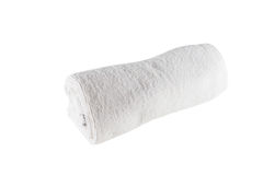 White  towel on white background. White  towel on the white background Royalty Free Stock Photography