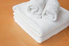 White towel on wood Stock Photos
