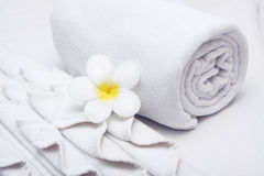 White  towel and yellow white tropical flower. Towel and yellow white tropical flower Stock Photo