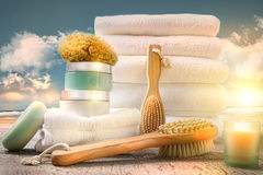 White towels with bath accessories Stock Photos