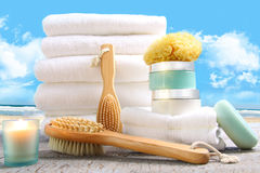 White towels with bath accessories Stock Images