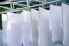 White towels on clothesline Royalty Free Stock Photos