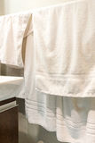 White Towels Hanging in Bathroom Royalty Free Stock Photos