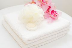 White towels with orchids Royalty Free Stock Image