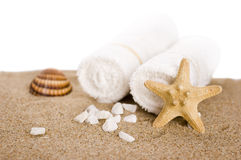 White towels and seastar Stock Image