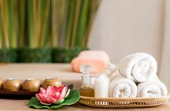 White towels and Spa objects on Spa bed. White towels and Spa objects on Spa Massage bed Stock Images
