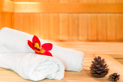 White towels in the spa style shot Royalty Free Stock Image