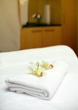 White towels on the table Stock Photo