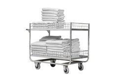 White towels on trolley of hotel Royalty Free Stock Photo