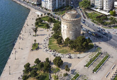 White Tower aerial view, Thessaloniki, Greece. Aerial view of the Whiite Tower square, in Thessaloniki, Greece Royalty Free Stock Images