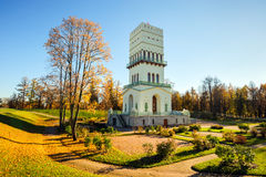 White Tower in Aleksandrovsky park, St. Petersburg, Russia Royalty Free Stock Photo