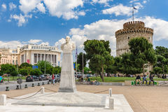 White Tower And Admiral Votsis Statue, Thessaloniki, Greece Royalty Free Stock Photography